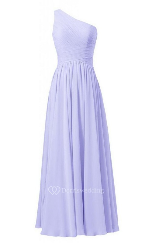 Simple One-shoulder Pleated A-line Dress With Criss-cross