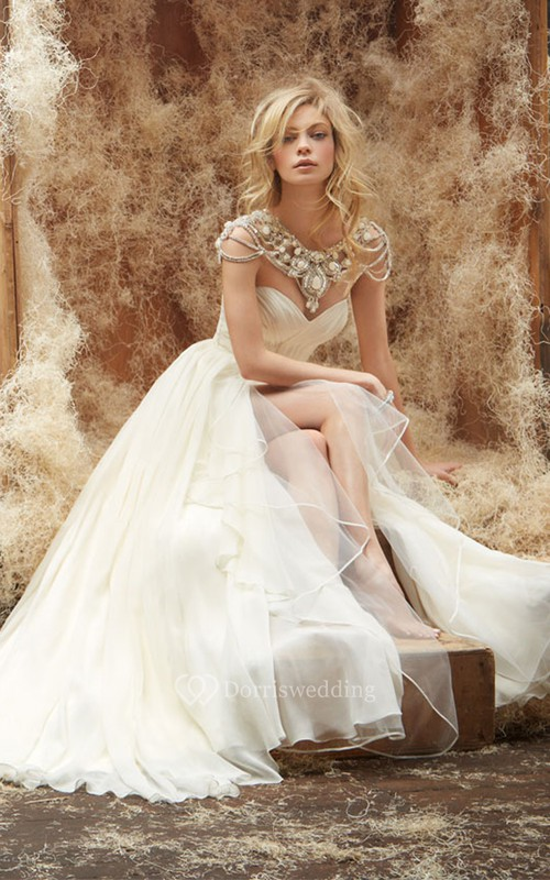 Captivating Sweetheart Neckline Ruched Bodice Long Gown With Cascading Ruffle