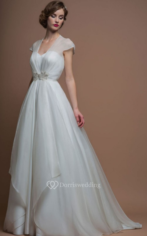 V-Neck Long Jeweled Cap-Sleeve Organza Wedding Dress With Sweep Train And Illusion