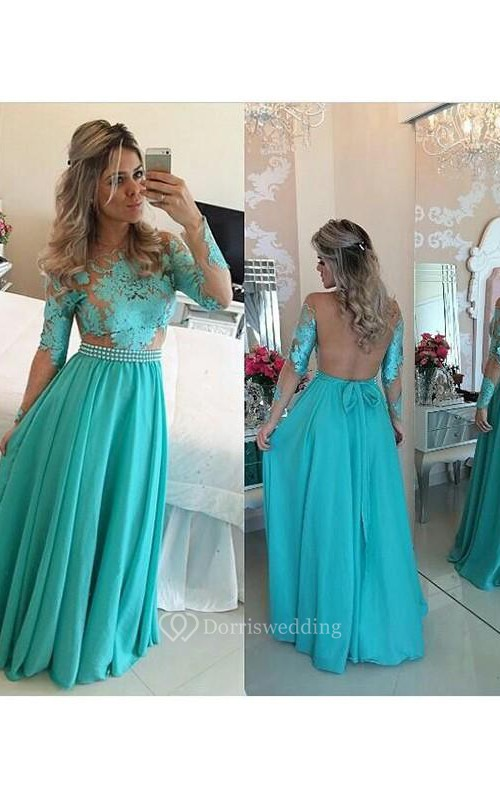 A-line Long Sleeves Scoop Chiffon Floor-Length Applique Dresses