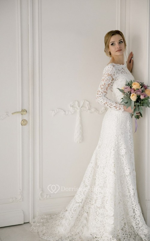 Lace Bateau Mermaid Elegant Wedding Dress With V-back