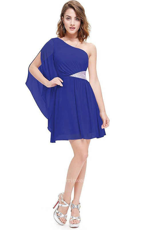 One-shoulder A-line Short Chiffon Dress with Pleats