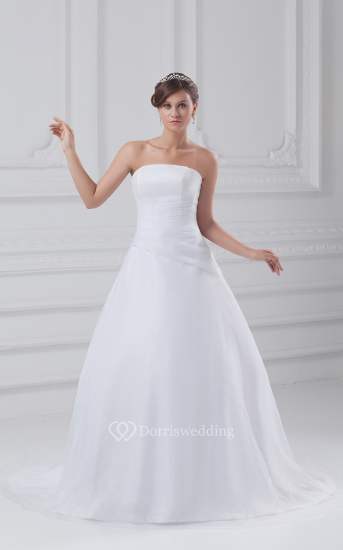 Strapless Organza A-Line Dress With Ruching and Court Train