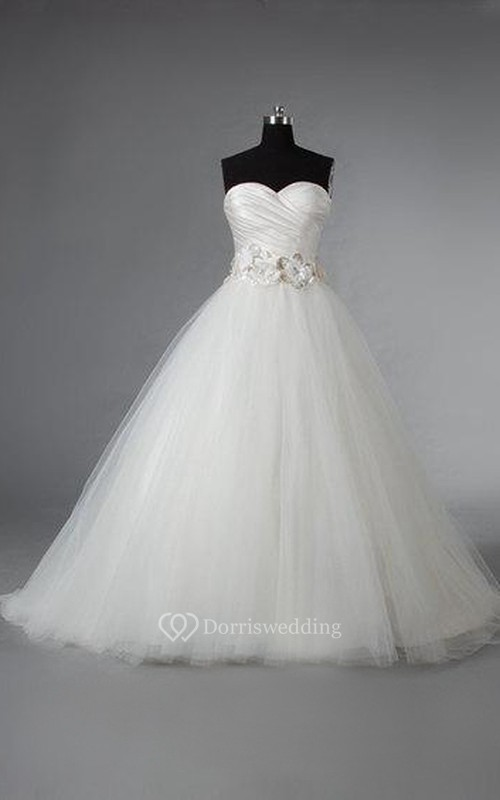 Sweetheart Tulle Ball Gown With Ruched Crisscross Bodice and Beaded Flowers