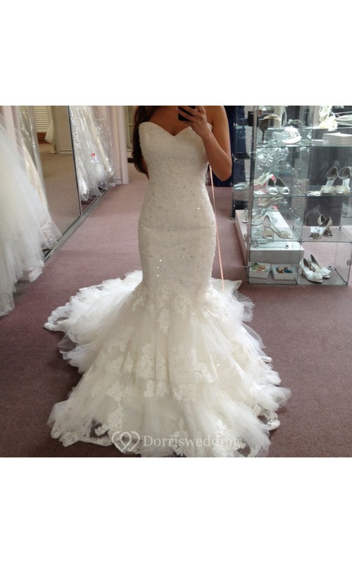 sweetheart beading mermaid wedding gown with layered tulle skirt