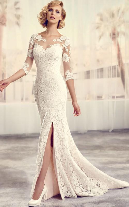 Floor-Length Scoop Split-Front Long-Sleeve Lace Wedding Dress ...