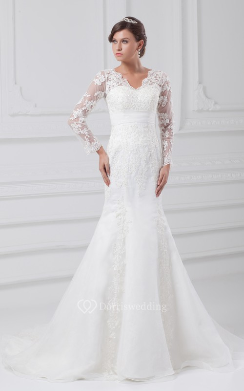 Long-Sleeve V-Neck Mermaid Dress With Lace Appliques