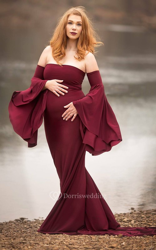 Sheath Bell Long Sleeve Empire Maternity Dress