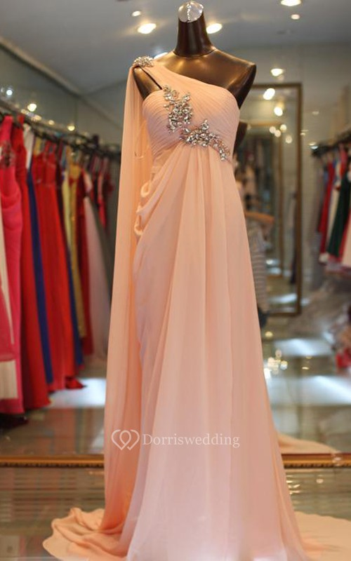 Elegant One Shoulder Long Chiffon Evening Dress With Crystals