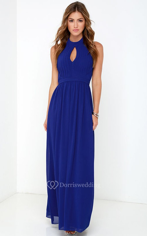 Empire Chiffon Long Sleeveless Brilliant Halter Dress