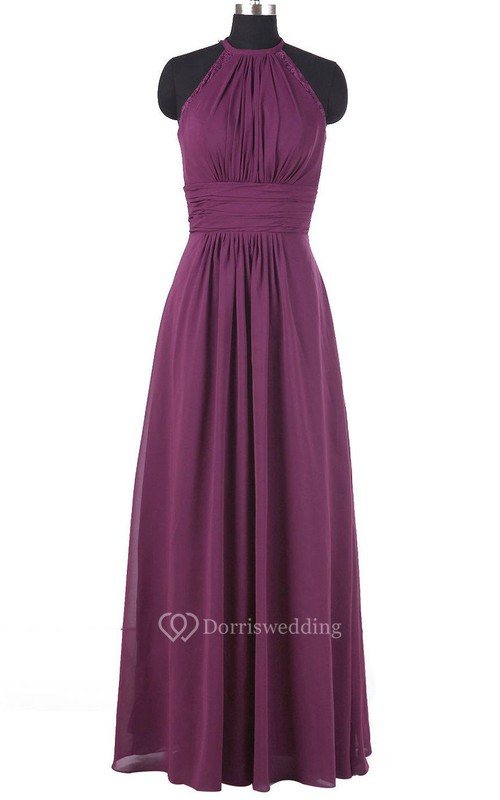 Floor-length Halter Chiffon Dress