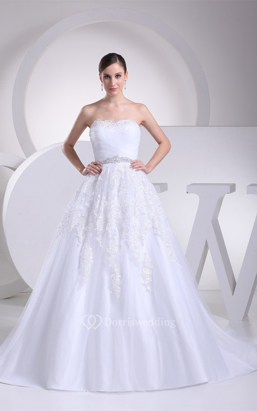 Sleeveless A-Line Ruched Gemmed Waist and Gown With Appliques