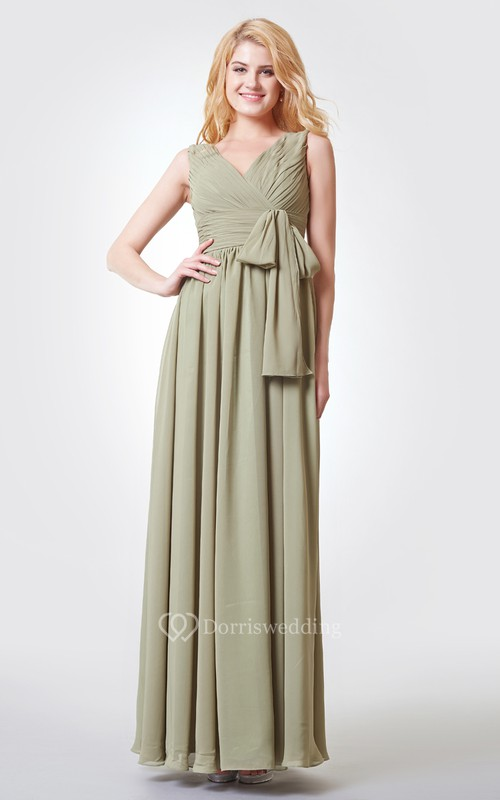 V-neck V-back Ruched A-line Long Chiffon Dress