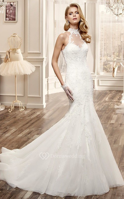 High Neck Mermaid Lace Wedding Dress With Appliques And Keyhole Back