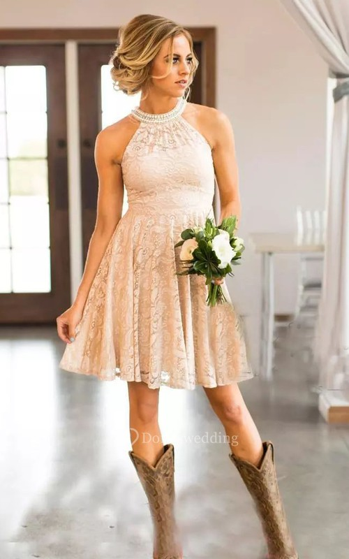 High Neck Sleeveless Short Lace A-Line Dress