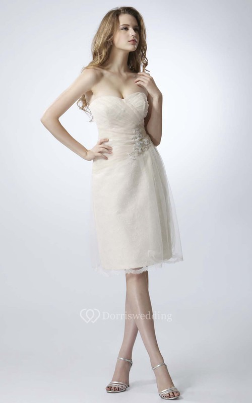 Knee-Length Criss-Cross Sweetheart Sleeveless Tulle Prom Dress