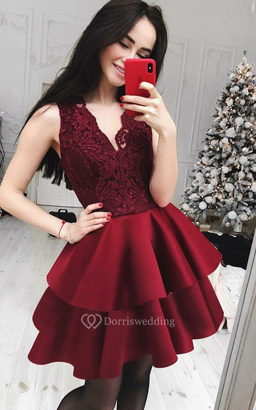 A-line Sleeveless Satin Lace V-neck Short Mini Homecoming Dress