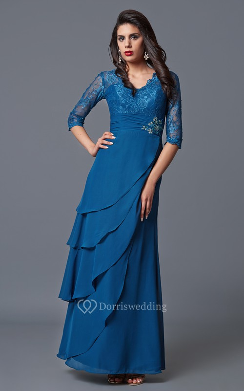 Elegant Long-sleeved V-neck Layered Lace and Chiffon Long Formal Dress