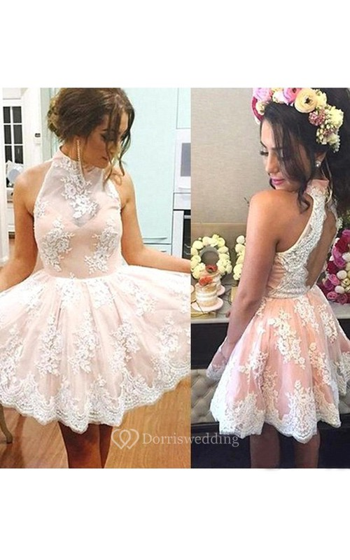 A-line Ball Gown Sleeveless Lace High Neck Keyhole Short Mini Homecoming Dress