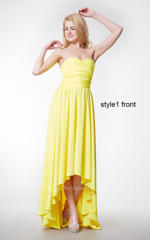 Convertible Sweetheart Neck Ruched High Low Jersey Dress With Ruffles
