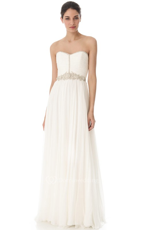 Long Sweetheart A-line Chiffon Dress With Beaded Belt