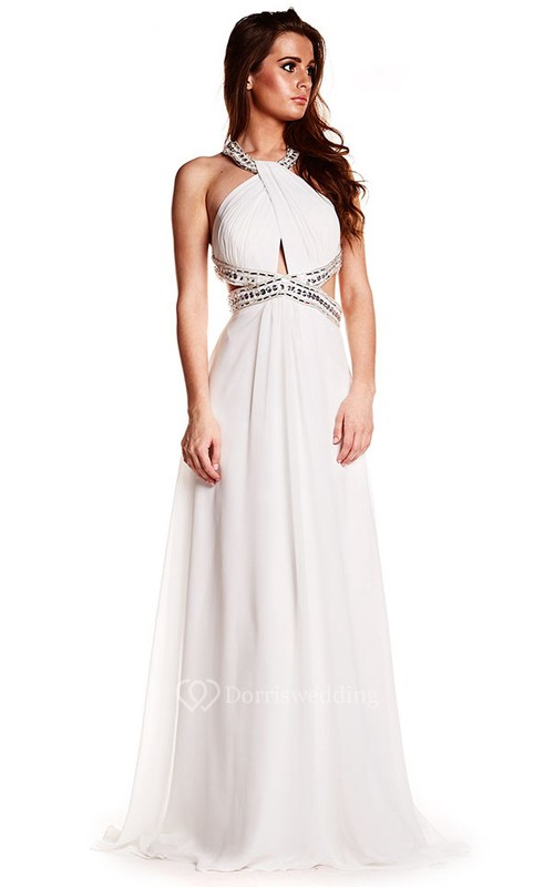 Sleeveless Beaded Halter Chiffon Prom Dress With Brush Train ...