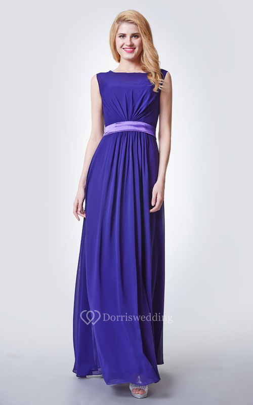 Stylish Cap-sleeved Long Chiffon Dress With Satin Sash
