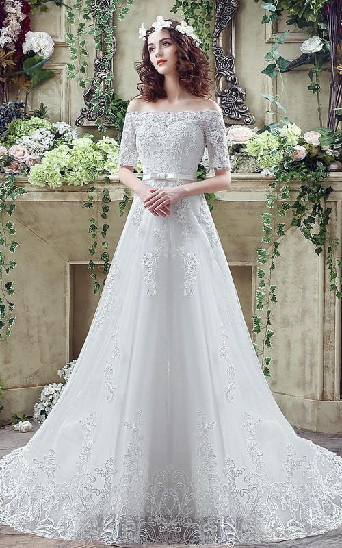 Elegant Off-the-shoulder Lace Appliques Wedding Dress 2018 Bowknot ...