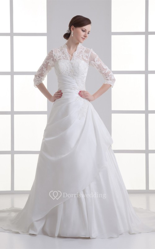 Alluring Ball Gown Sleeve Taffeta High Neck Wedding Dresses - Dorris ...