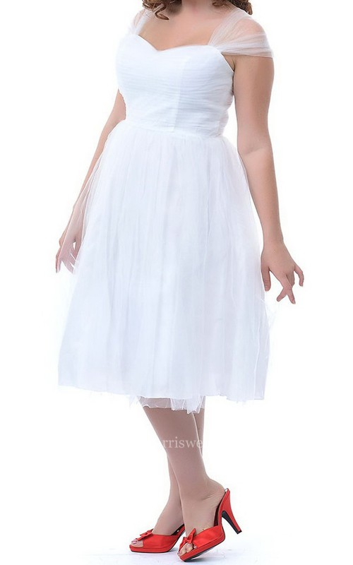 Sleeveless Midi-length Pleated Tulle Dress With Illusion Straps