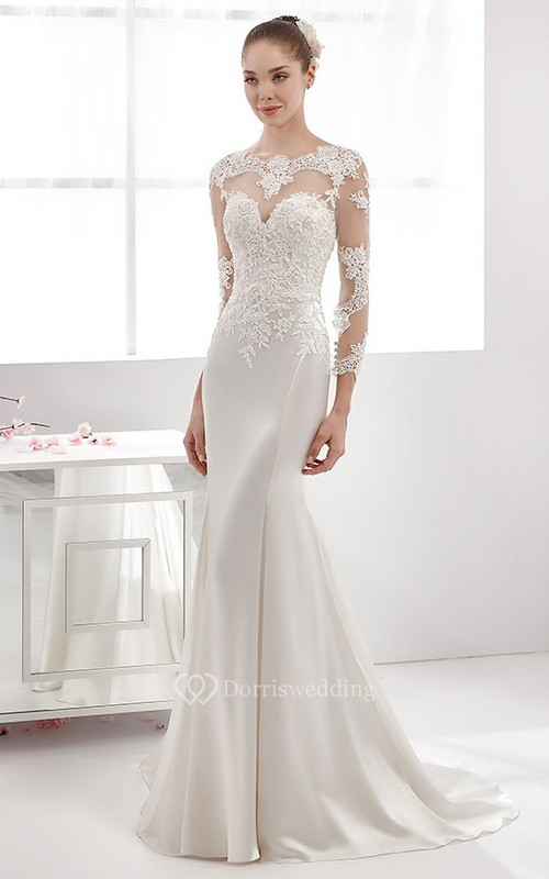 Long Sleeve Sheath Satin Wedding Dress With Lace Appliques Bodice