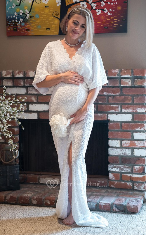 Sheath Bat 3/4 Length Sleeve Empire Maternity Wedding Dress