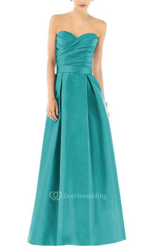 Ruched Bodice Long Satin Dress with Pleats