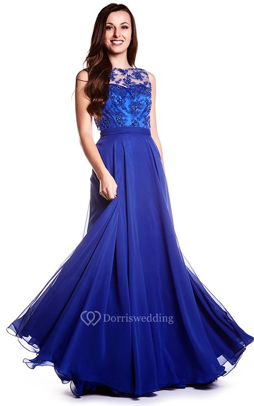 Sheath Sleeveless Jewel Neck Appliqued Chiffon Prom Dress