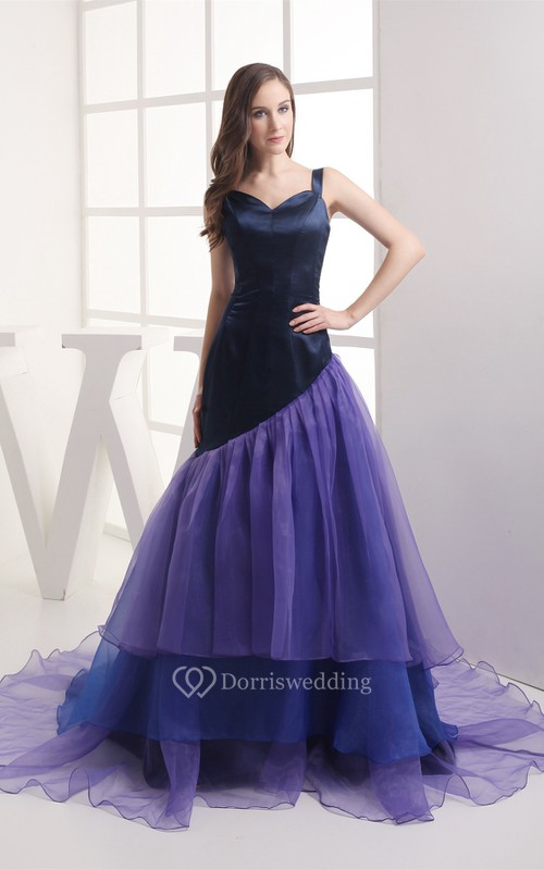 Mute-Color A-Line Pleated Gown With Tiers