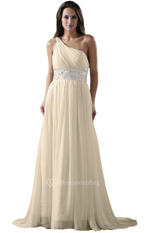 One-shoulder A-line Chiffon Dress With Sequiend Waist - Dorris Wedding