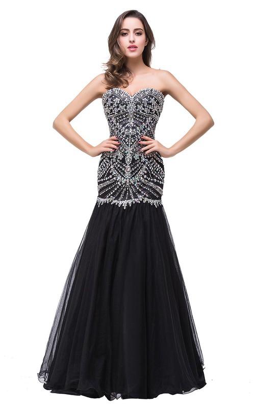 Glamorous Crystals Black Mermaid 2018 Prom Dress Sweetheart ...