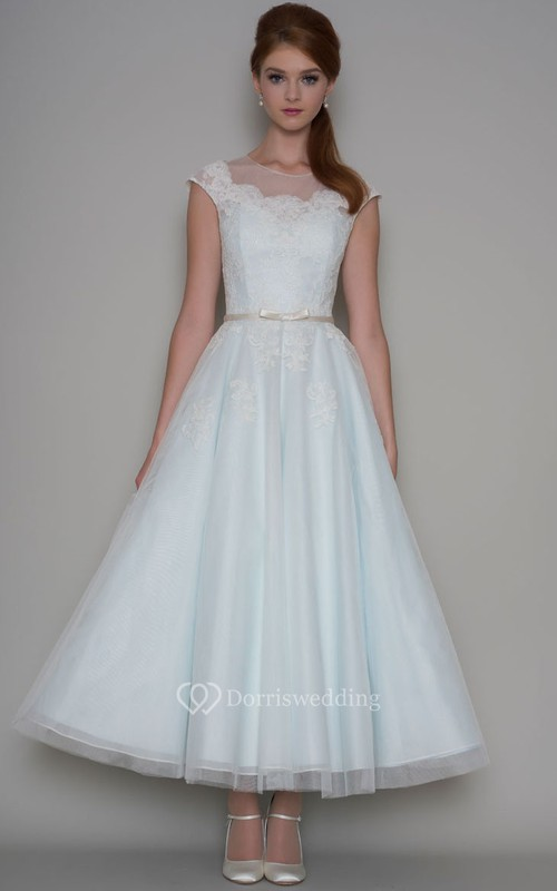 Ankle-Length A-Line Cap Sleeve Scoop Neck Appliqued Tulle Wedding Dress