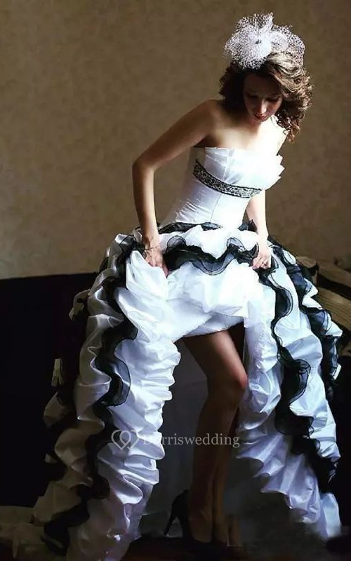 A-Line Taffeta Strapless Sleeveless High-Low Wedding Dress with Cascading Ruffles