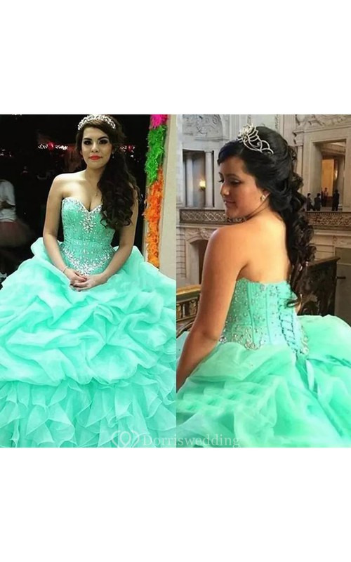 Sweetheart Ball Gown Floor-length Sleeveless Organza Prom Dress with Lace-up Back