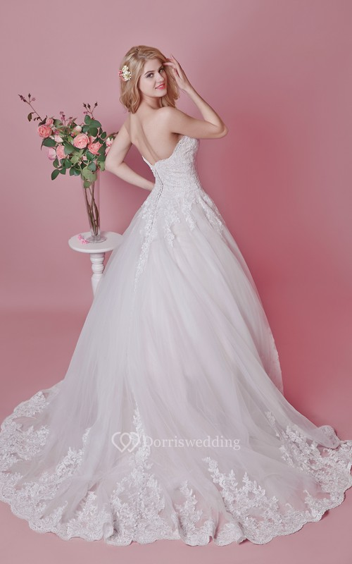 Romantic Sweetheart Floral Lace Applique and English Net Wedding Ball Gown