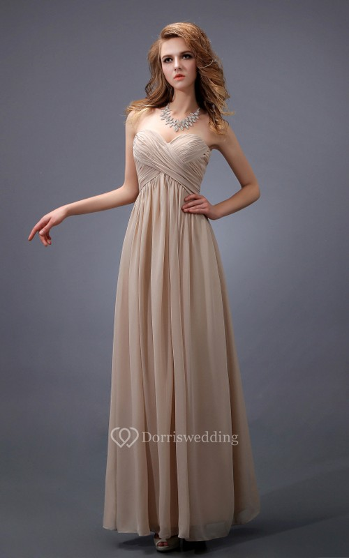 Sweetheart Empire Chiffon Dress With Criss-Cross Ruching