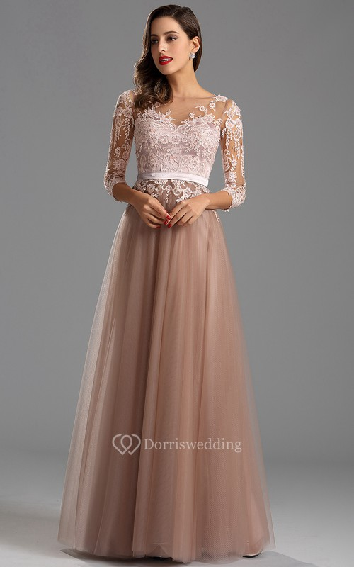 Formal Dresses With Long Illusion Sleeve | Long Sleeved Party Prom ...