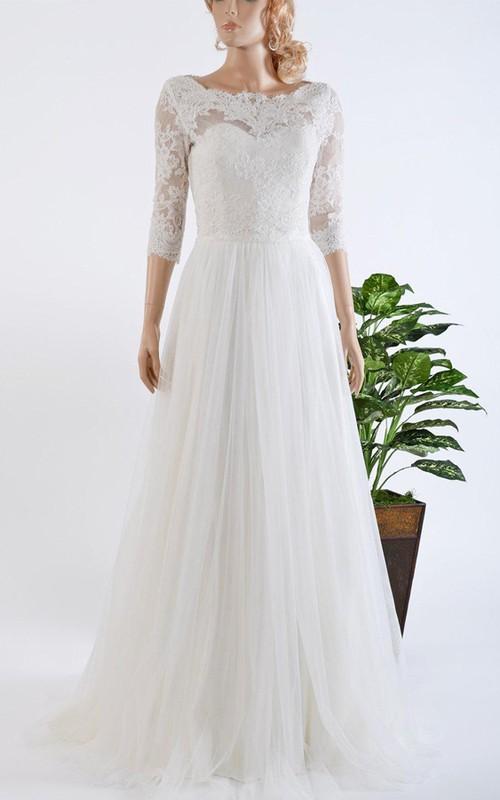 Wedding Dresses Bolero.3 4 Length Sleeve Tulle Satin Lace Bolero Wedding Dress