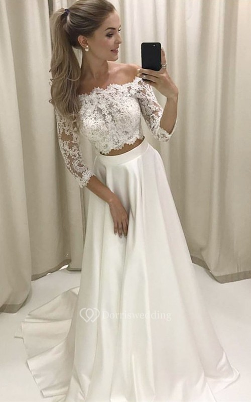 Two Piece Off-the-shoulder Sleeves Satin Wedding Dress with Lace ...