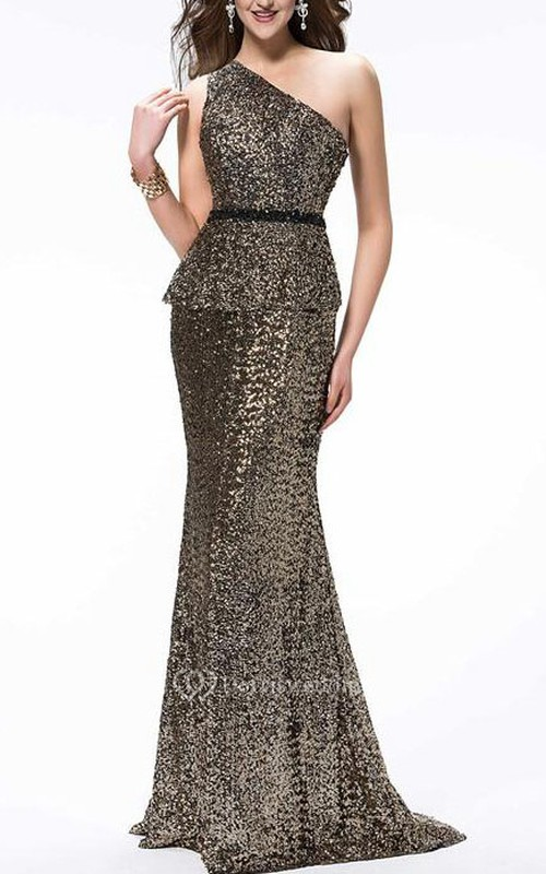Shinning One-Shoulder Sequins Sweep Train Beading Floor-Length Evening Dress