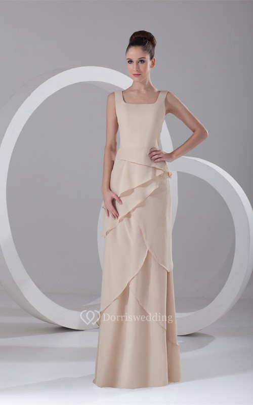 Gorgeous Maxi Sheath Square Chiffon Special Occasion Dresses
