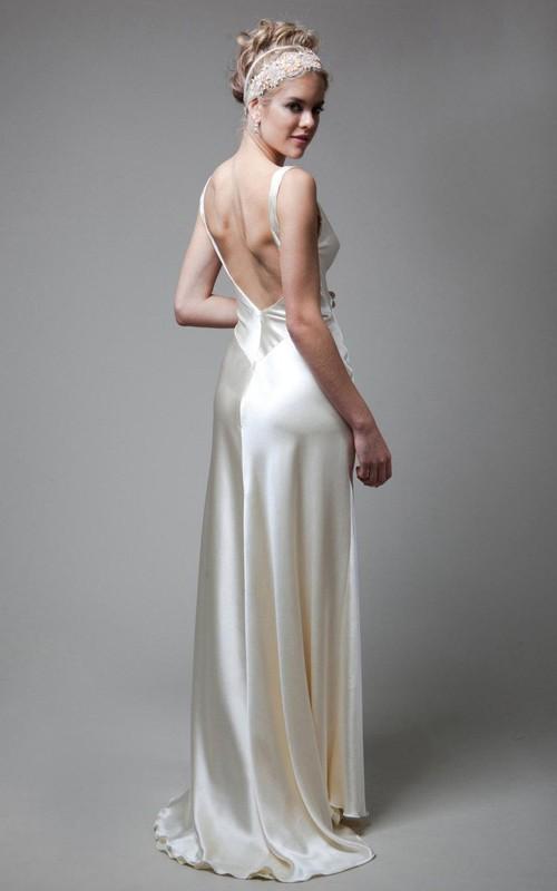 V-Neck Empire Sleeveless Deep-V Back Sheath Long Satin Wedding Dress ...