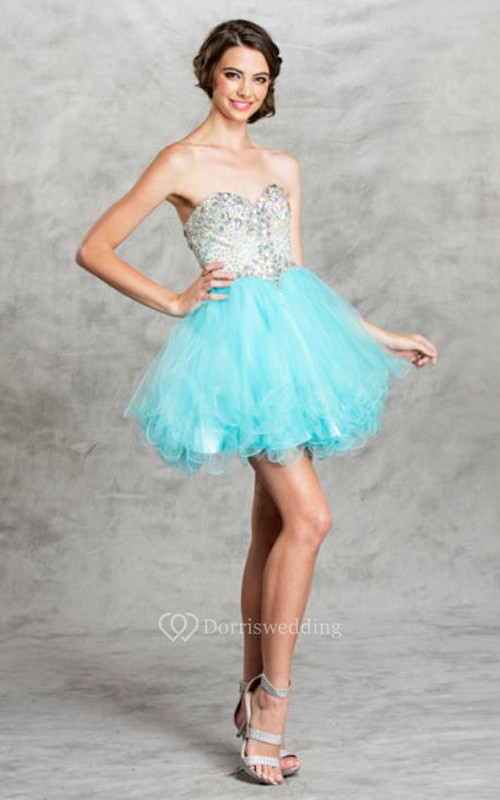 A-Line Mini Sweetheart Sleeveless Tulle Backless Dress With Beading And Ruffles