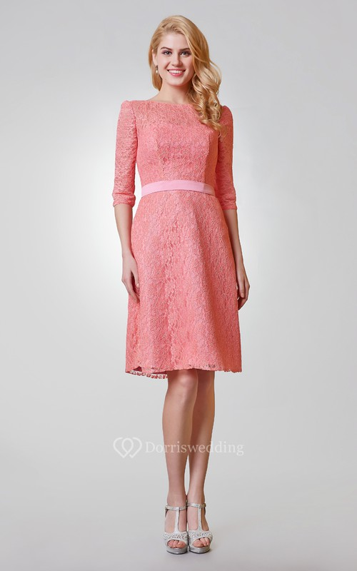 Simple 3-4 Length Sleeve A-line Knee Length Lace Dress
